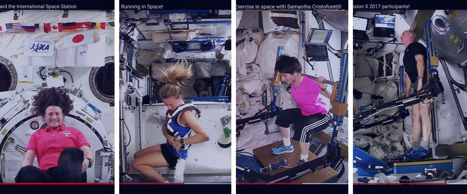Screenshots of various youtube videos showing astronauts exercising in space