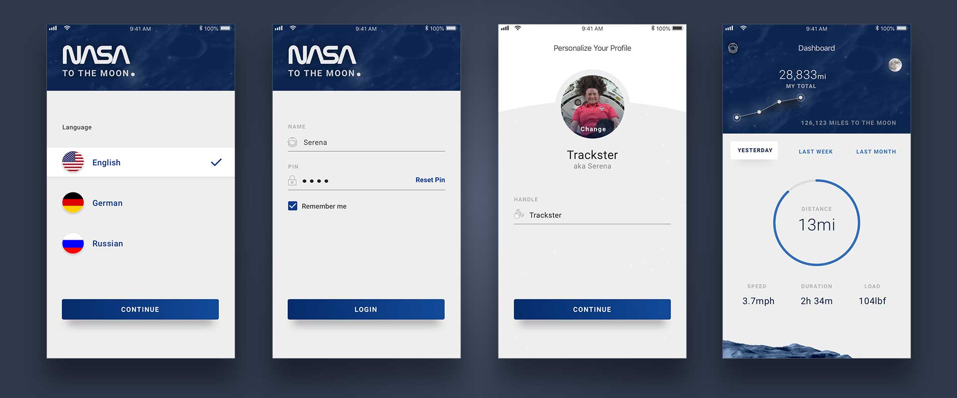 Finalized comps showing main screens of the mobile login flow