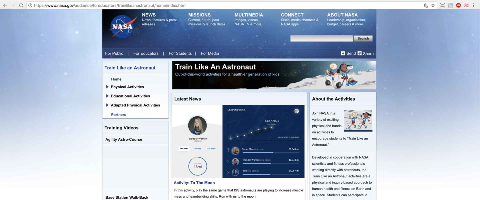 The NASA Train Like an Astronaut homepage